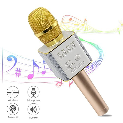 Ula Wireless Karaoke Microphones, Bluetooth Karaoke Machine, Upgraded 2600mAh Stereo Player Outdoor Family KTV Party Handheld Singing Q9, Compatible With Smartphone Devices (Great Gift For Kids) ()