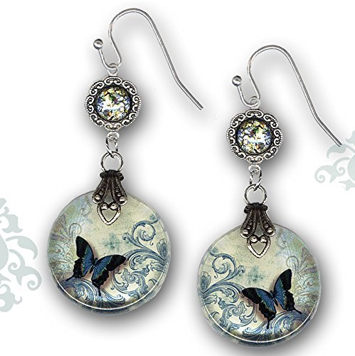 - Teal Butterfly Glass Earrings - Voyageur - The Alhambra Collection - Teal Flight of the Butterfly