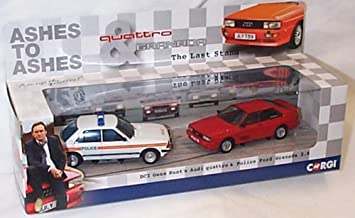corgi ashes to ashes ford granada police and audi quattro car set 1.43 scale diecast model