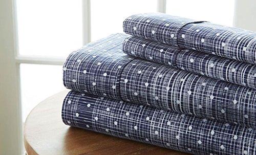 Simply Soft 4 Piece Sheet Set Polkadot Patterned, King, Navy