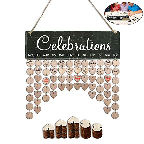 Family Birthday Tracker Calendar Board,DIY Wooden Birthday Anniversary Reminder Wall Hanging Calendar Plaque with Tag for Father & Grandpa & Father In Law Gifts-Celebrations Sign Jigsaw Puzzle Sticker