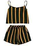SheIn Women's 2 Pieces Set Contrast Striped Cami Top with Shorts Outfits Black Medium