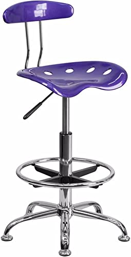 Offex Contemporary Sleek Vibrant Violet and Chrome Drafting Stool with Tractor Seat