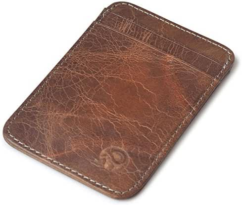 Vintage Genuine Leather Wallet Slim Front Pocket Credit Card Holder Sleeve Card case