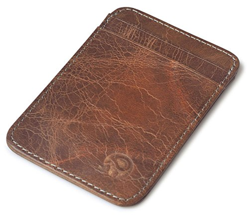 Slim Vintage Genuine Leather Wallet Front Pocket Credit Card Holder Sleeve Card case (Brown)