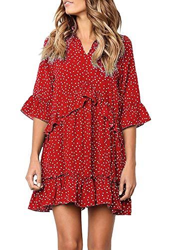 (Chvity Women Flowy Boho Tunic Dresses Short Sleeve Casual Mini Dresses Petite Length Ruffle Hem Short T Shirt Dress (X-Large, Wine Red))