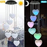 Youyuan LED Solar Wind Chime - Outdoor Waterproof Solar Powered LED Changing Light Color Mobile Six Heart Shaped Wind Chimes for Home,Party,Festival Decor,Valentines Gift,Night Garden Decoration