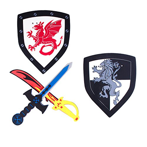 Children's Foam Toy Medieval Joust Dual Dragon Sword & Shield Knights Set Lightweight Safe for Birthday Party Activities, Event Favors, Toy (Joust Set)