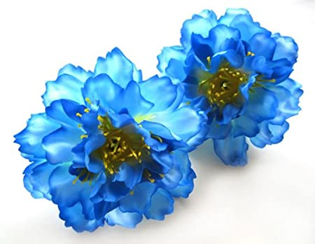 (12) Silk Blue Peony Flower Heads - 4