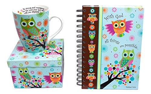 Bundle of 2 Divinity Items - Owl Mug and Journal Gift Set (Kaleidoscope)