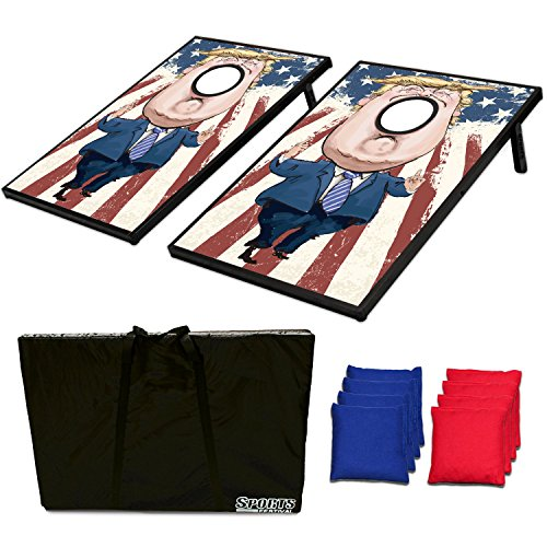 Sports Festival ® CornHole Donald Trump Board Bean Bag Toss Game Set and Tic Tac Toe 2 Games In 1 With Donald Trump Face by Sports Festival ®