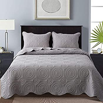 Amazon Com Mellanni Bedspread Coverlet Set Light Gray
