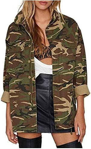 Berser Womens Loose Thin Camouflage Coats disposition Outwear Jackets 2XL