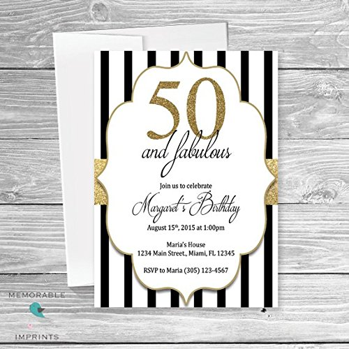 Amazon 50th birthday invitations 50 and fabulous invitations 50th birthday invitations 50 and fabulous invitations gold black and white birthday invitation filmwisefo Choice Image