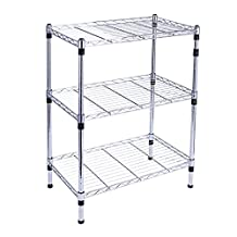 SortWise ® 3-Tier Heavy Duty Adjustable Chrome Wire Shelving Storage Shelf System, 3 Shelves, approx 24-Inch Width x 30-Inch Height x 14-Inch Depth
