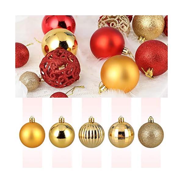 Kranich 32 Palline per Albero di Natale in Oro, infrangibili, Ideali per Decorazioni Natalizie, Decorazioni da Appendere, per Feste, Matrimoni, Feste (5 Finiture, 60 mm) 6 spesavip