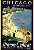 CHICAGO CITY THE VACATION CITY ILLINOIS CENTRAL THE ROAD OF TRAVEL LUXURY AMERICAN VINTAGE POSTER REPRO