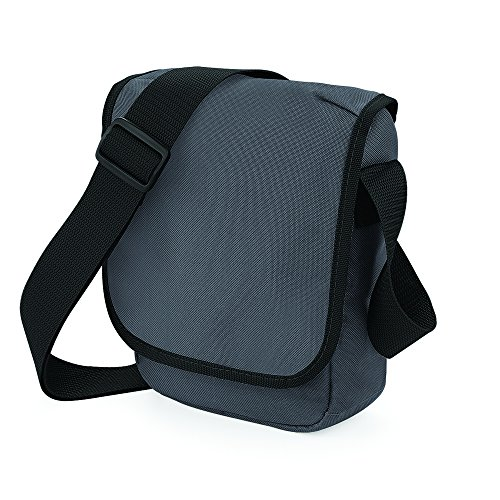 BagBase Mini Reporter Gris - Graphite Grey/ Black