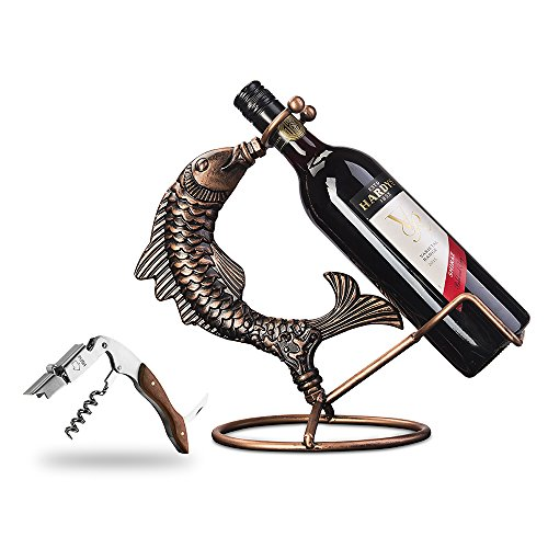 Animal Wine Bottle Holder - Inmount Wine Rack with Corkscrew Set, Decorative Tabletop Wine Bottle Holder, Stainless Steel & Wood Opener, Artistic Retro Vintage Bronze Tone Metal Fish Wine Stand