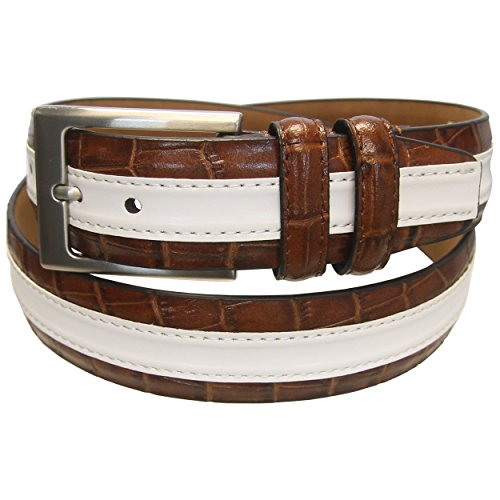 PGA TOUR Leather Striped Golf Belt Men's - 210 TAN - SIZE 32