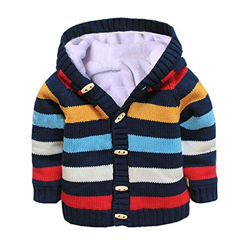3t Baby Gap - Baby Toddler Boys Girls Striped Long Sleeve Sweaters Cardigan Warm Outerwear Jacket Dark Blue