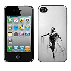 Caucho caso de Shell duro de la cubierta de accesorios de protección BY RAYDREAMMM - Apple iPhone 4 / 4S - Flying Muscles Man Cape