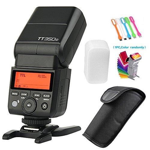 Godox TT350C TTL 2.4G GN36 High Speed Sync 1/8000s Wireless Master/slave Camera Flash Speedlite light for Canon Mirrorless Cameras(TTL autoflash)+Filters & USB LED by Godox