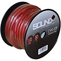 SoundBox Connected 0 Gauge Red Amplifier Amp Power/Ground 1/0 Wire 50 Feet SuperFlex Cable 50 Spool