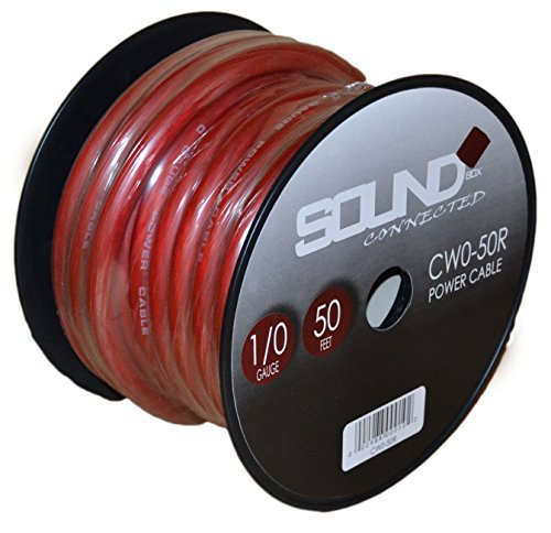 SoundBox Connected 0 Gauge Red Amplifier Amp Power/Ground 1/0 Wire 50 Feet SuperFlex Cable 50' Spool by SoundBox Connected