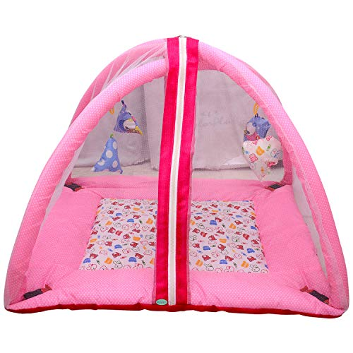 PEAHEN Baby Bedding with Mosquito Protection Net (Pink)