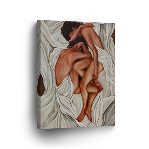 Lesbian Couple Oil Painting CANVAS PRINT Nude in White Sheets LGBT Love Sexy Naked in the Bed Decorative Wall Art Decor Artwork Wrapped Stretcher Bars - Ready To Hang %100 Handmade in the USA - CA