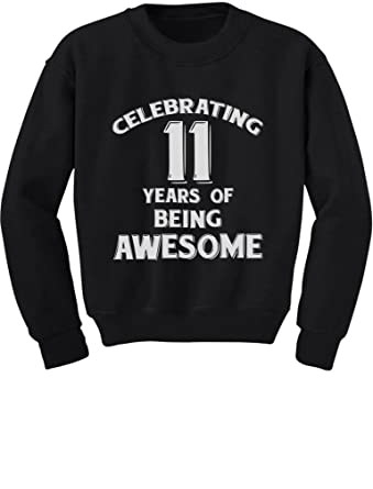 Tstars 11 Years Of Being Awesome Birthday Gift For Year Old Youth Kids Sweatshirt