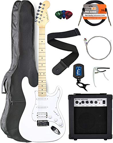 Vault ST1-E White Electric Guitar with Maple Neck Bundle with Gig Bag, 10w Amp, Strap, Tuner, Strings, Instrument Cable, Capo, and Picks