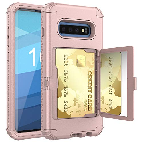 Samsung Galaxy S10+ Plus Case,S10+ Wallet Credit Card Holder Case,ACXLIFE Shockproof Heavy-Duty Protective Hybrid Cover with Slot Holder,Mirror & Kickstand Case for Galaxy S10plus6.4Inch (Rosegold)
