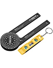 Miter Saw Protractor, XUNTOP 7-Inch Aluminum Miter Protractor with Mini Level Gauge Rust Proof Angle Finder Featuring Precision Laser Engraved Scales for Carpentry, Crown Molding, Baseboard, DIY and Homework