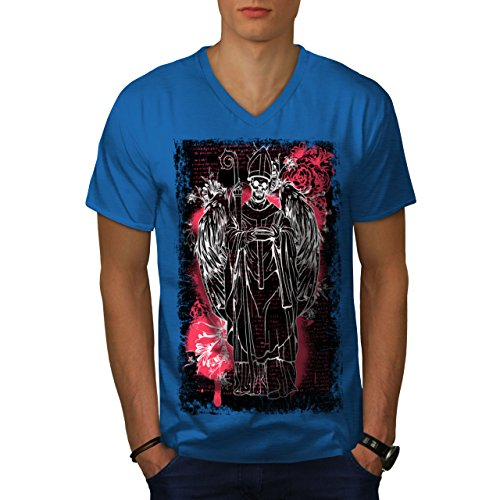 (wellcoda Satan Angel Devil Mens V-Neck T-Shirt, Religion Graphic Print Tee Royal Blue L)