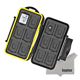 Kupton K020 Water-resistant Memory Card Case Shockproof Memory Card Carrying Case Protector Box: 24 Slots for 12 Piece SDHC / SDXC Cards and 12 Micro SD Cards - Upgraded Version with Kupton Superfine Fiber Cloth
