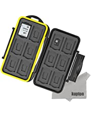 Kupton Water-resistant Memory Card Case Shockproof Memory Card Case Box for 12 Piece SDHC/SDXC Card/Micro SD Card SD Card + Kupton Superfine Fiber Cloth