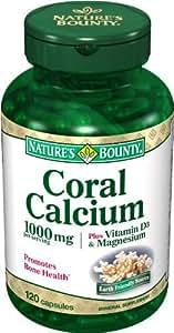 Nature's Bounty Coral Calcium Plus Vitamin D3 and Magnesium, 1000mg, 120 Capsules