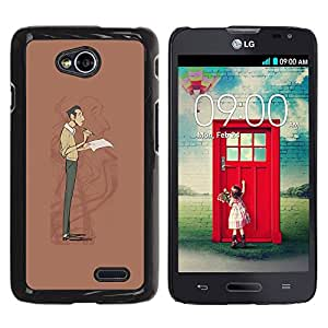 Paccase / SLIM PC / Aliminium Casa Carcasa Funda Case Cover - Writer Wrt Man Self Portrait Reflection Art - LG Optimus L70 / LS620 / D325 / MS323