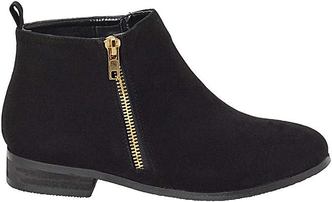 Ladies Womens Mid Block Heel Smart Winter Biker Chelsea Ankle Boots Shoes Size