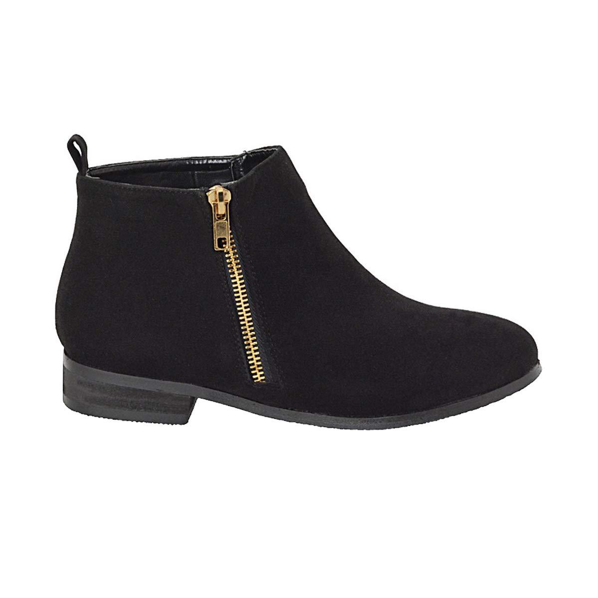 208878911c7ac ESSEX GLAM Ladies Chelsea Block Heel Riding Biker Gold Zip Womens Flat  Ankle Boots Shoes Size 3-8