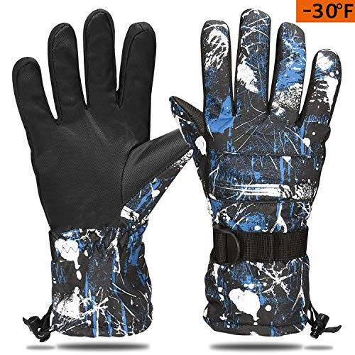 Cevapro Ski Gloves, Waterproof Thermal Insulation Gloves Winter Warm Gloves for Skiing Skating Snowboarding Shoveling Under -30°F