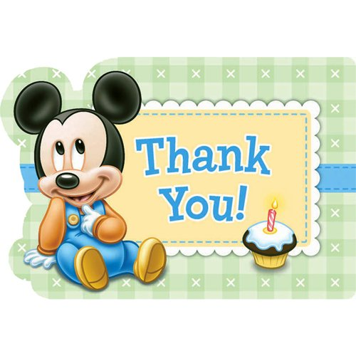 Disney Baby Mickey Mouse 1st Birthday Party Postcard Thank You Cards, Cardstock, 4