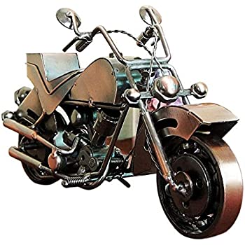 Amperer Collectible Art Sculpture Handmade Metal Motorcycle Tractor Model Creative Office Desktop Accessories Decor The Motorcycle Loves Artwork (C1 Copper Large Size)