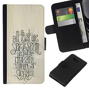 KingStore / Leather Etui en cuir / Samsung ALPHA G850 / Cita Caligrafía motivación;