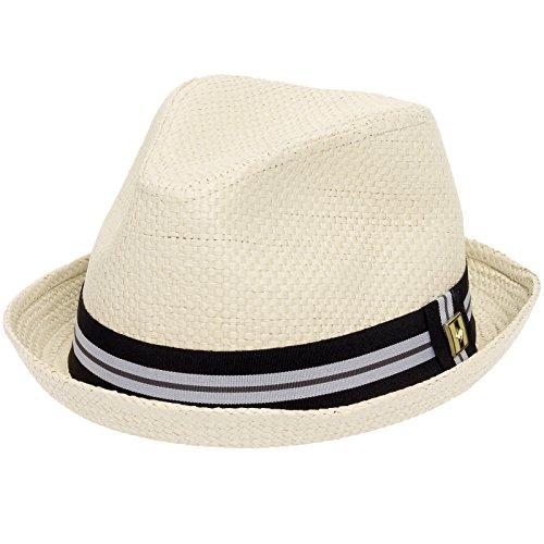 Peter Grimm Depp Fedora Hat w/Striped Brim (Wheat, S/M)