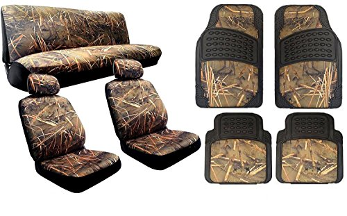 Complete Muddy Water Forest Camouflage Interior Set for Car & Trucks - 2 Front Seats - Rear Bench - Premium 4pc Heavy Duty Floor Mat Set Snow Rain Duck Hunting (Digital Camouflage Floor Mats compare prices)