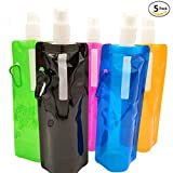 Collapsible Foldable Reusable Water Bottles Durable Lightweight Compact Freezable Freestanding Portable Pouch Flask Bag Ice Pack 5 Packs