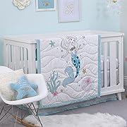 Disney Ariel Sea Princess 3 Piece Crib Bedding Set, Blue/White/Gold/Pink
